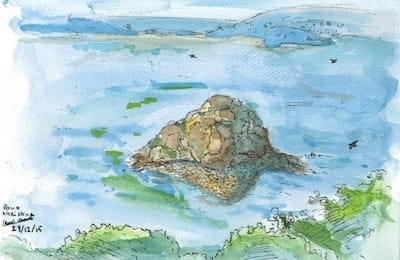 Watercolor drawing - the Roche Mignonne island