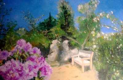 Photo - rhododendron in bloom and reading bench